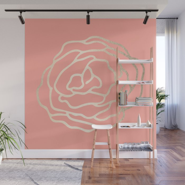 Flower in White Gold Sands on Salmon Pink Wall Mural