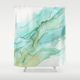 Magic Bloom Flowing Teal Blue Gold Shower Curtain