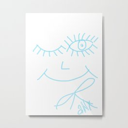 ASHIONBAX. Art. Eyes. Blue Smile. Metal Print