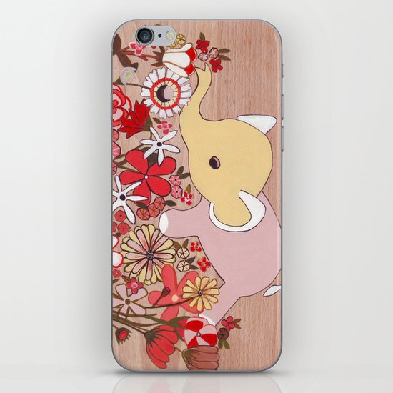 Elephant in the flowers iPhone & iPod Skin