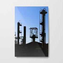 Silhouette Oil Refinery In Ventura Metal Print