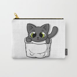Cute Black Pocket Cat Carry-All Pouch