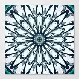 Black and White w/Teal Accent Mandala Canvas Print