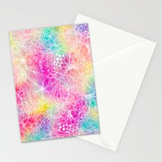 Bright neon pink turquoise purple yellow watercolor white floral illustration pattern Stationery Cards