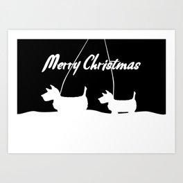 Westie White Christmas Art Print