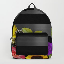 Black & Silver Dark Metallic Stripes With Flowers Backpack