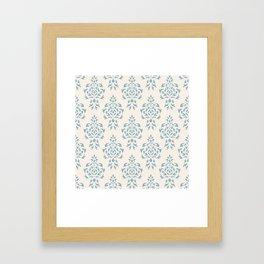 Crest Damask Repeat Pattern Blue on Cream Framed Art Print