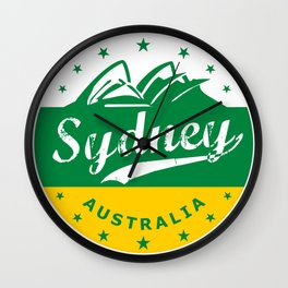 Sydney City, Australia, circle, green yellow Wall Clock