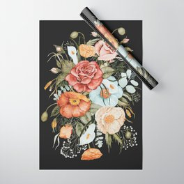 Roses and Poppies Bouquet on Charcoal Black Wrapping Paper