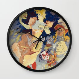 French Night Club Poster: La Comédie Wall Clock