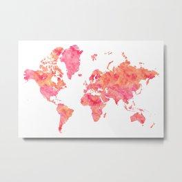 """Hot pink and orange watercolor world map """"Tatiana"""" Metal Print"""