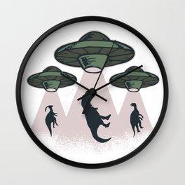 UFO dinosaurs Wall Clock