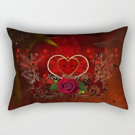 Happy mother's day with heart and roses Rectangular Pillow