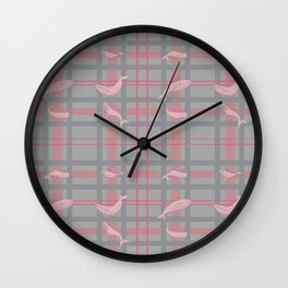 Whale Plaid #1 PINK and GREY Wall Clock