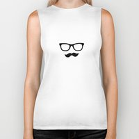 mustache Biker Tanks featuring Mustache by Isabel Moreno-Garcia