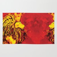 lion king Area & Throw Rugs featuring Lion King by RICHMOND ART STUDIO