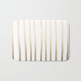 Simply Drawn Vertical Stripes in White Gold Sands Bath Mat