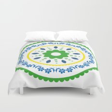 Green suzani inspired floral round placement Duvet Cover