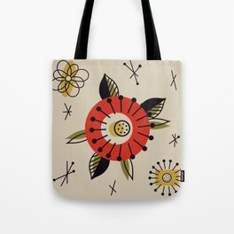 Red Mid Century Modern Flower  Tote Bag