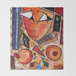 Original Art Painting: Women in the Shower by Hassan Hamdi Throw Blanket