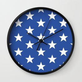 Superstars White on Blue Large Wall Clock