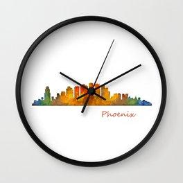 Phoenix Arizona, City Skyline Cityscape Hq v1 Wall Clock