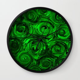 Apple Green and Onyx Glass Swirl Abstract Wall Clock