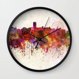 Sheffield skyline in watercolor background Wall Clock