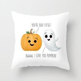 Boo-tiful Couple | Pumpkin & Ghost Throw Pillow