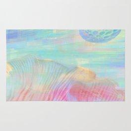 HOPSCOTCH SHRINE, a spaceship flying through a pastel art piece Rug