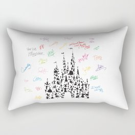 black and white character castle with rainbow signatures Rectangular Pillow