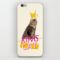 kit king iPhone & iPod Skins featuring King Cat by Kit & Cat
