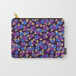 Happy night violet floral & polka-dots Carry-All Pouch