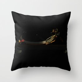 Turntable in the dark Throw Pillow