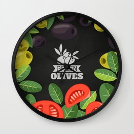 Olives retro poster #7 Wall Clock