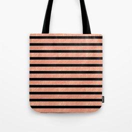 Rose Gold Stripes on Black Tote Bag