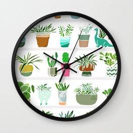 Plants on shelves. Wall Clock