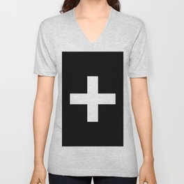 Plus Sign (White & Black) Unisex V-Neck
