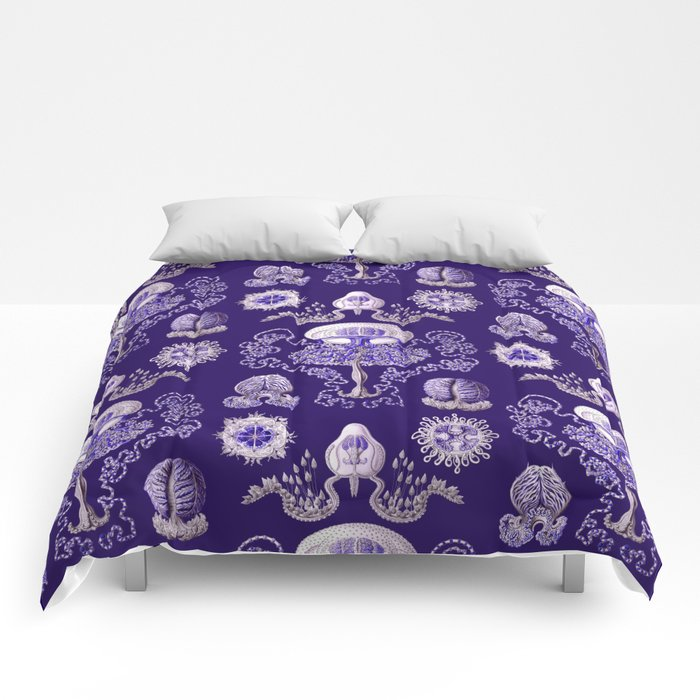 Ernst Haeckel - Purple Jellyfish Pattern Comforters