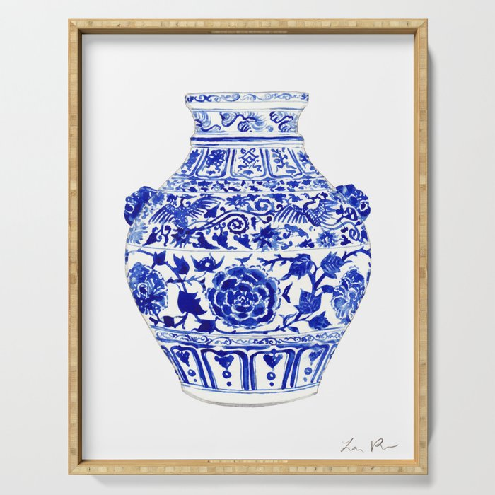 Blue and White China Ginger Jar 4 Serving Tray