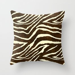 ZEBRA IN WINTER BROWN AND WHITE Throw Pillow