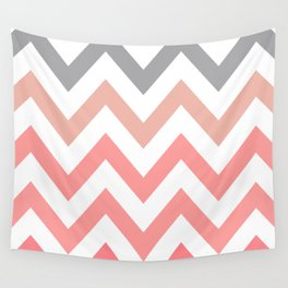 CORAL FADE CHEVRON Wall Tapestry