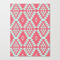aztec Inspired Pattern Teal & Pink Canvas Print