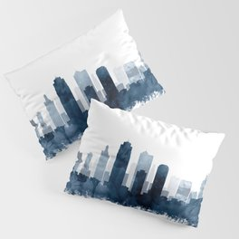 Kansas City Skyline Blue Watercolor by Zouzounio Art Pillow Sham