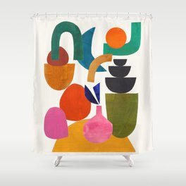 'Joy Of Family' Abstract Geometric Shapes Paper Collage Colorful Arrangement Mid Century Modern Cool Funky Style Shower Curtain
