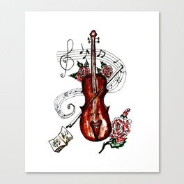 Brown Violin with Notes Canvas Print