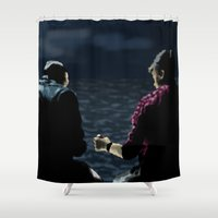 stargate Shower Curtains featuring John and Rodney on the Pier by dammitspawk