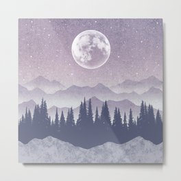 Starry Night - Moon, Mountains & Forest Metal Print