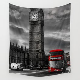 London - Big Ben with Red Bus bw red Wall Tapestry