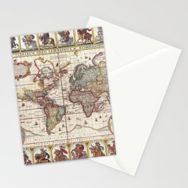 1652 Map of the World, Doncker Sea Atlas World Map Stationery Cards